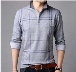 Primavera listrado dos homens tshirt Fashion Designer lapela Long Neck T-shirt magro dos homens Casual Tees em Promoção