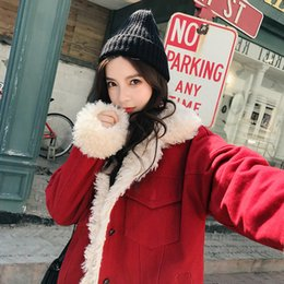 women korean winter parka coat Australia - Winter Jacket Women Real Lamb Fur Coat Thick Warm Parka Korean Style Short Outwear Pockets Overcoat Long Sleeve Womens Clothing