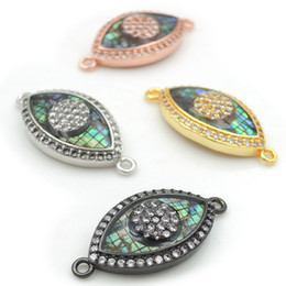 $enCountryForm.capitalKeyWord Australia - 24*12*3mm Micro Pave Clear CZ Gridding Abalone Shell Eye Connectors Fit For Making Bracelets Or Necklaces Jewelry