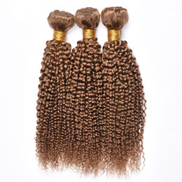 hair for weaving Australia - 3 4 Bundles Human Hair Extension 8A Brazilian Virgin Kinky Curly Hair Weave 100% Unprocessed Hair Colored 27# Honey Blonde for Black Woman