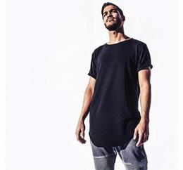 Plain Mens Tee Shirt Australia - Mens big and tall Clothing designer citi trends Clothes T shirt homme Curved hem Tee plain white Extended T shirt 2019