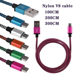 Nylon Cord Connectors NZ - V8 charger 1 2 3M Metal Connector Nylon Braided Micro USB Cable Lead charger Cord For Samsung S6 S6 S7 S8 Android Phone