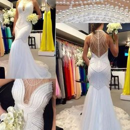 See Beaded Wedding Dresses NZ - Luxury Beaded Mermaid Wedding Dresses with Pearls Sheer Neck Bridal Party Gown See-Through Backless Women Wedding Gowns