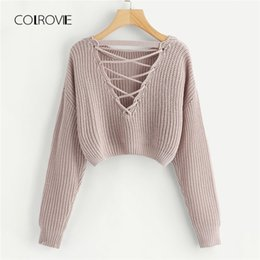 $enCountryForm.capitalKeyWord Australia - Colrovie Pink Korean Criss Cross V Back Winter Crop Knitted Sweater Women Clothes Autumn Pullover Jumper Ladies Sweaters Q190508
