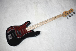 bass guitar red black Australia - Factory Custom 4 Strings Black Electric Bass Guitar with Chrome Hardware,Red Tortoise Pickguard,20 Frets,High Quality,Can be Customized