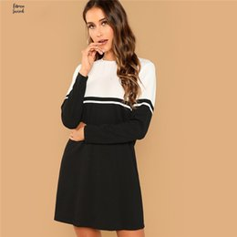 nylon blocks NZ - Black Dress And Block Elegant Color White Round Neck Long Sleeve Natural Waist Autumn Fashion Women Dresses