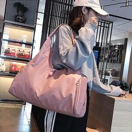 Pink Nylon Tote Bag Australia - Pink Black Travel Bag Luggage Totes Sports Shoulder Bags for Women Waterproof Handbag Weekend Portable Nylon Bolsas Feminina
