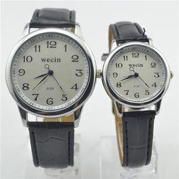 men classic leather gold watch 2019 - Men Women Leather Watches Quartz Movement Mineral Reinforced Mirror Waterproof Ladies Wristwatch Classic Lovers Watch di