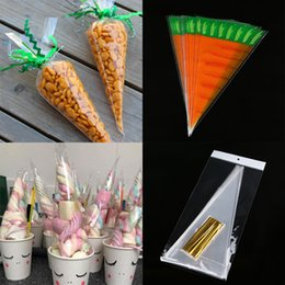 Kids Birthday Pack Australia - Cyuan 20Pcs Clear Cellophane Treat Bags Easter Decoration Favors Candy Cones for Kids Birthday Wedding Party Gift Box Pack Bags