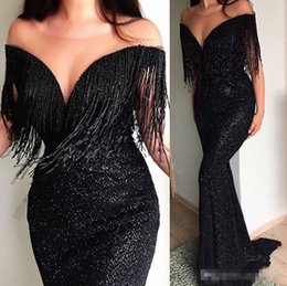 Wears off online shopping - Sparkly Black Sequins Mermaid Evening Cocktail Dresses Off Shoulder Tassel Full length Trumpet Occasion Prom Party Gown Cheap