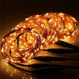 colour wire NZ - 9 Colours 10M 100Leds 12V Copper wire LED String Lights Outdoor Indoor Christmas Fairy Lights Holiday Fairy Starry Lights with Power Adapter