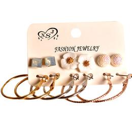 Discount beautiful earrings girls - New fashion women jewelry wholesale girls party pearl earrings beautiful mix-and-match 6 pairs set earrings gift agency