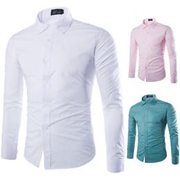 White Chemise Dress Australia - 2018 Brand White Men Shirt Long Sleeve Chemise Homme Fashion Business Design Mens Slim Fit Dress Shirts Casual Camisa Social #389126