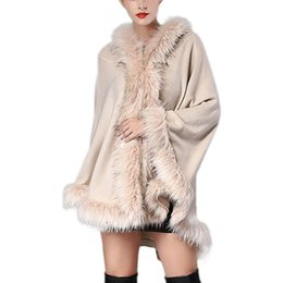 Discount fluffy shawls - 2019 Winter New Arrived Women's Luxury Style Faux Fur Coat Ponchos And Capes Fur Top Shawl Hooded Cape Fluffy Coat