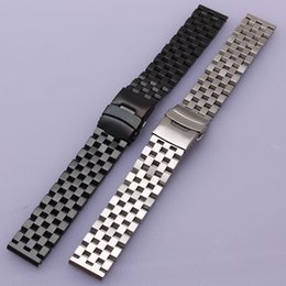 22mm stainless watch band Canada - 18mm 20mm 22mm 24mm 26mm Silver Black Watchbands Stainless steel with safety Folding Buckle Watch strap accessories replacement matte bands