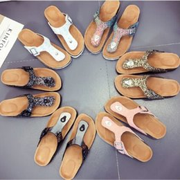 $enCountryForm.capitalKeyWord Canada - Hot sale Sequins Beach Cork Slippers 18 Styles Casual Sandals Flip Flops PU Leather Non-slip Clip Feet Slippers DHL fast shipping
