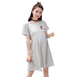 8272d77c3578 Vestiti di gravidanza di cotone a strisce vestiti per le donne incinte  vestiti di gravidanza del cotone coreano estate 2019 maternità casual