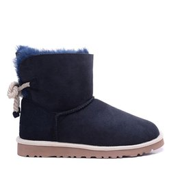 Blue polka dot flats online shopping - HOT new Classic Genuine leather snow boots Wool Women Boots Warm winter shoes Australia girl womens Hemp rope bow blue