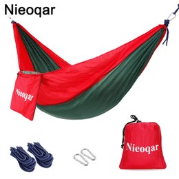 Wholesale ultralight person hammocks outdoor camping traveling hiking sleeping bed picnic swing tent single tent Red green CM