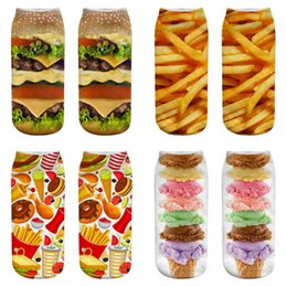 trendy knee socks UK - LISCN 3D printed burger set trendy personality ice cream 3D pattern men's and women's socks Harajuku socks