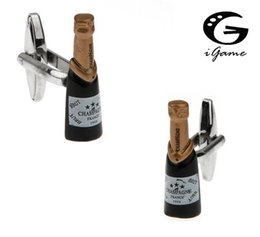 Jewelry Sets & More Igame Novelty Beer Bottle Cuff Links Silver Color Brass Material Drinking Bottle Design Free Shipping