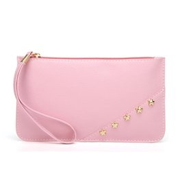 handbags new trend Canada - New Fashion Purse Stars Rivet Decoration Women's PU Leather Clutch Bag Trend Small Bag Solid Color Mobile Handbag