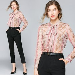 $enCountryForm.capitalKeyWord NZ - New Design Spring Summer Sexy Leopard Print OL Woman's Ladies Casual Office Button Front Bow Tie Neck Long Sleeve Slim Blouses Shirts Tops