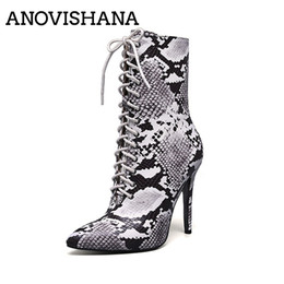 Discount snake boots - ANOVISHANA Women short Zipper Boots Snake Print Ankle Boots Thin High heels Lace up Pointed toe Lace up female Big siz