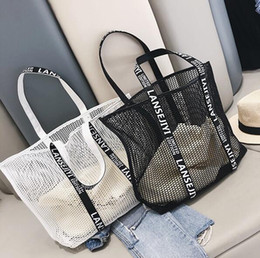 Ingrosso Progettista delle donne della borsa di lusso Vuoto-fuori Spalla Summerc Mesh femminile singolo sacchetto Borsa Oversize Beach Shopping Bag Sail / 4
