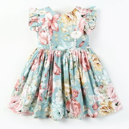 Lace Pleated Australia - Summer Kids lace embroidery dress girls floral printed Bows belt pleated dress children round collar falbala fly sleeve princess dress F5975