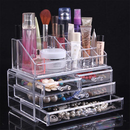 $enCountryForm.capitalKeyWord Australia - Wholesale- Elagance Transparent Drawer Acrylic Jewelry Container Cosmetic Makeup Cotton Pad Storage Box Case Holder for Home