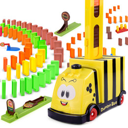 Stack Blocks Australia - Domino Electric Stacking Train Set Plastic Dominoes Board Game Laying Car Colored Dominos Blocks Educational Toys for Children