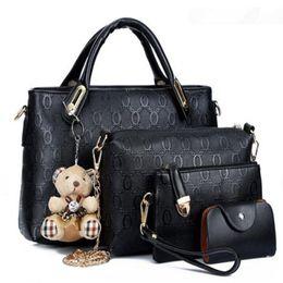 Crocodiles Alligator Toys Australia - Women Top Handle Bags Handbag Set PU Leather Composite Famous Brand Borse bag kit lady messenger bags purse bear toy 4pcs set