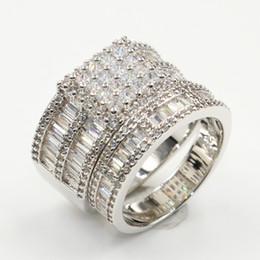 $enCountryForm.capitalKeyWord Australia - Couple Rings 2019 New Arrival Vintage Fashion Jewelry 925 Sterling Silver Full White Topaz CZ Diamond Women Wedding Bridal Ring Set Gift