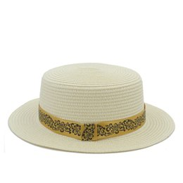 straw boaters NZ - Summer Toquilla Straw Women Men Flat Top Chapeu Boater Beach Sun Hat For Elegant Lady Queen PorkPie Fedora Sunbonnet Cap