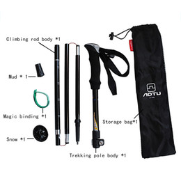 Wholesale Black 5 knots adjustable telescopic aluminum mountaineering camping crutch ultralight trekking pole hot ski poles wholesale