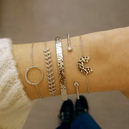 $enCountryForm.capitalKeyWord Australia - 5 Pcs  Set Personality Female Leaves Moon Round Crystal Beads Chain Opening Bracelet Set Fashion Party Multilayer Gold Bracelet