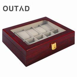 Discount wood box watch case - Luxury 10 Grids Solid Red Wooden Watch Box Jewelry Display Organizer Case Watches Storage Box Caja Reloj