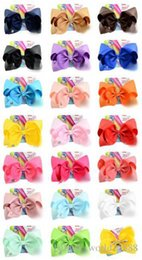 $enCountryForm.capitalKeyWord Australia - CLASSICAL Jojo Siwa Solid Color 8 Inch Large Hair Bow Handmade Ribbed Ribbon Bow With Alligator Clip Children hair accessories 12pcs