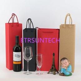 100 unids / lote Bolsas de vino de papel Rojo Negro Papel Kraft Logotipo de estampado en caliente Paquete Oliver Oil Champagne Portabotellas Impresión del logotipo