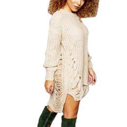 fdaf53ed70a Sexy dreSS garterS online shopping - Winter Autumn Dress Femme Ripped Out  Holes Sweater Pullover Irregular