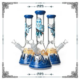 China New Design Game of Thrones Bong Glass Smoking Water Pipes Beaker Bongs Heady Glass Hookah With 14.4mm Bowls Free shipping suppliers