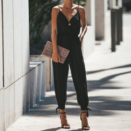$enCountryForm.capitalKeyWord Australia - Brand New Women's Spaghetti Strap V Neck Floral Print Split Beam Foot Pants Jumpsuit Rompers in sexy style