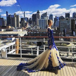 empire lace applique dress Australia - Mermaid Prom Dresses Royal Blue Lace Appliques Newest Design See Thogh Long Sleeveless Floor Length Evening Gowns Formal Dress ogstuff