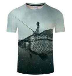 3e293470f Funny Fishing t shirts online shopping - Newest Men Womens Fashion Leisure Funny  Fish D Print