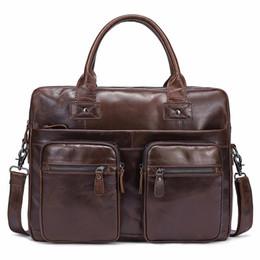 Discount famous computer brands - Famous Brand Men Briefcase Bags Genuine Cow Leather Laptop Bag For Man Crossbody Bag Male Business Messenger Shoulder Ba