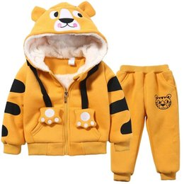 hoodies pants cartoon clothes Australia - Cute Boys Girls Cartoon Tigers Clothing Suits Baby Plus Velvet Hoodies Pants 2Pcs Sets Kids Toddler Winter Sports Clothes 1-5YrsMX190919