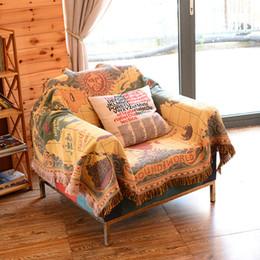 $enCountryForm.capitalKeyWord Australia - Retro map single double sofa towel pad full cover national wind cotton blanket carpet tablecloth Parlor carpet bed cover decoration bedroom