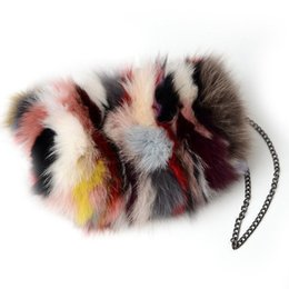 Chinese  good quality Real Fox Fur Women Messenger Bags Designer Winter New Fashion Ladies Chain Crossbody Shoulder Handbag Clutch Bag manufacturers