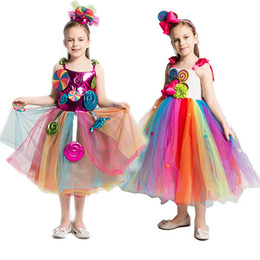 children summer frocks NZ - 2 Girls Rainbow Candy Dress Kids Lollipop Modeling Frock Baby Girl Performance Costumes Summer Children Birthday Party Clothes ZY1216